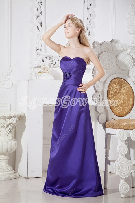 Modest Violet Satin A-line Junior Bridesmaid Dress