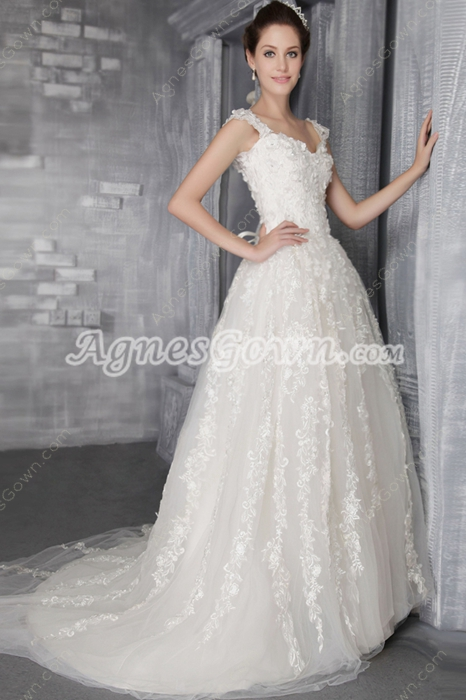 Impressive Double Straps Princess Lace Wedding Dress