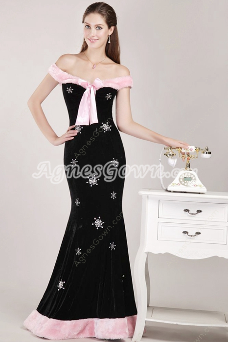 Off The Shoulder Velvet Winter Prom Dress