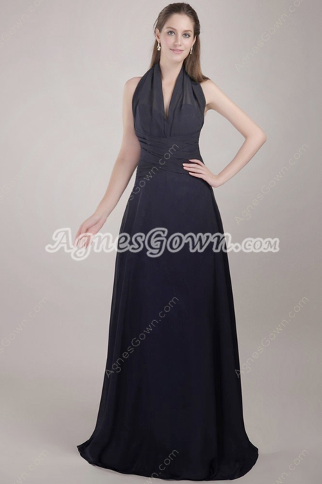 Backless A-line Dark Navy Chiffon Evening Dress