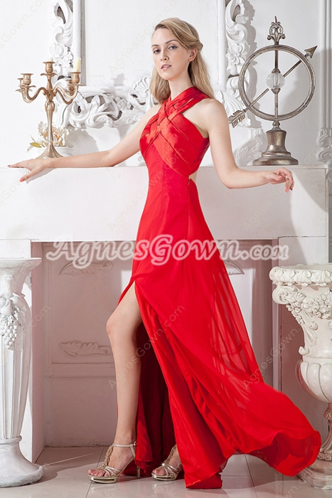 Keyhole Back Front Slit Evening Dress
