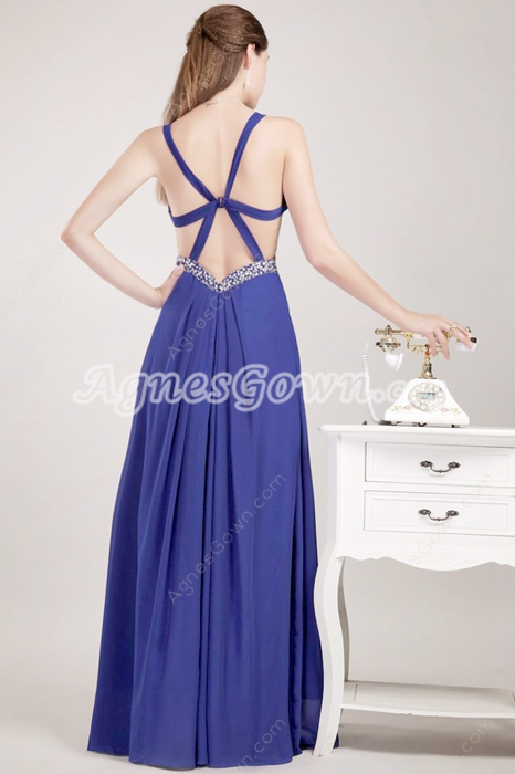 Crossed Straps Back Royal Blue Chiffon High School Graduation Dress