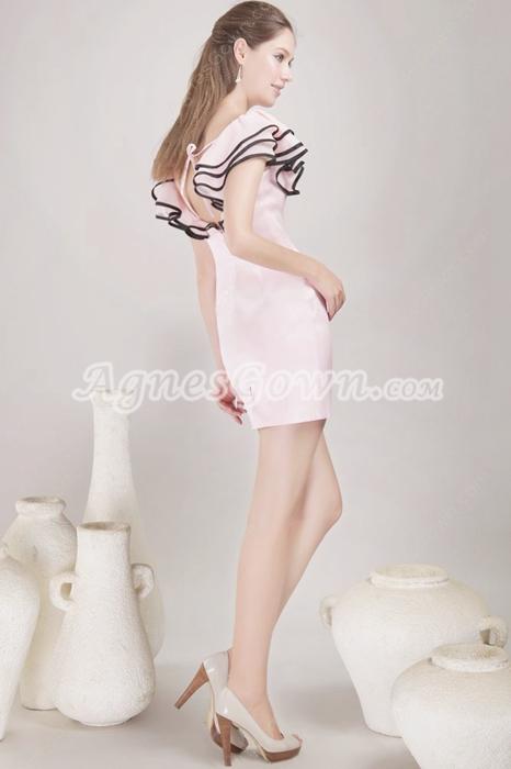Scoop Neckline Mini Length Pink Cocktail Dress
