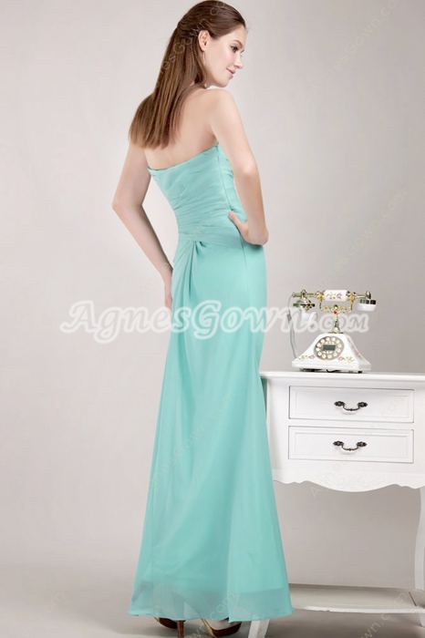 Ankle Length Jade Green Homecoming Dress High Slit