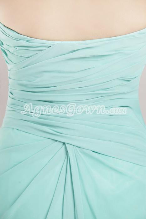 Ankle Length Jade Green Homecoming Dress High Slit