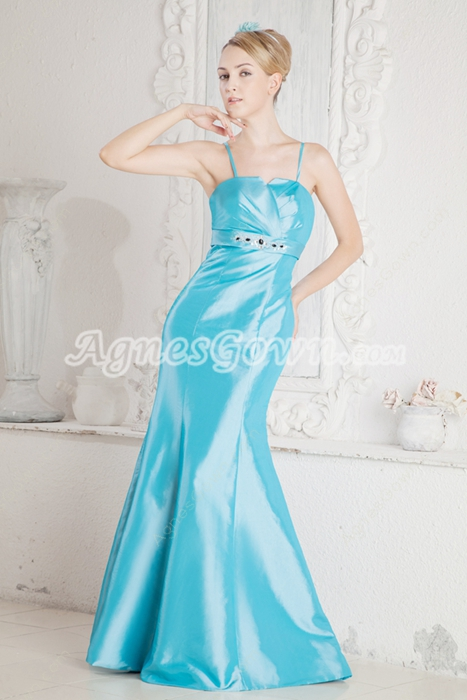 Spaghetti Straps Blue Satin Prom Party Dress
