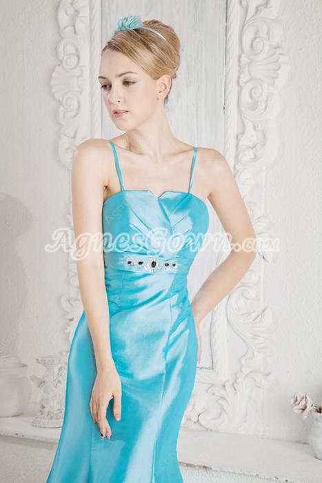 Spaghetti Straps Blue Satin Prom Party Dress