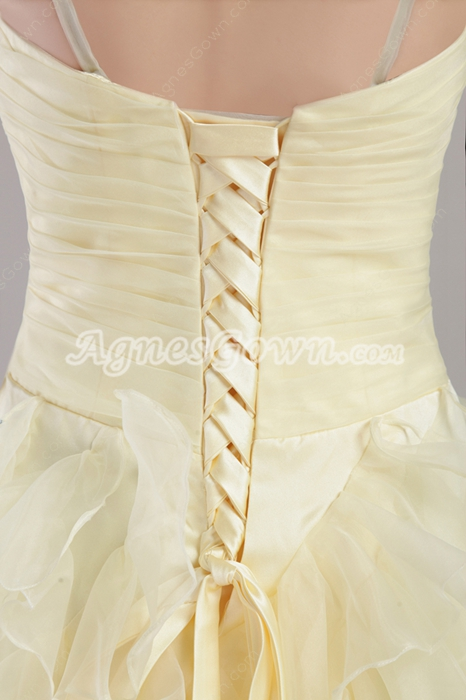 Perfect Yellow Ankle Length Sweet 15 Dresses With Ruffles