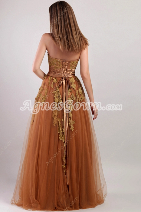 Stylish Brown Strapless Puffy Princess Quinceanera Dress