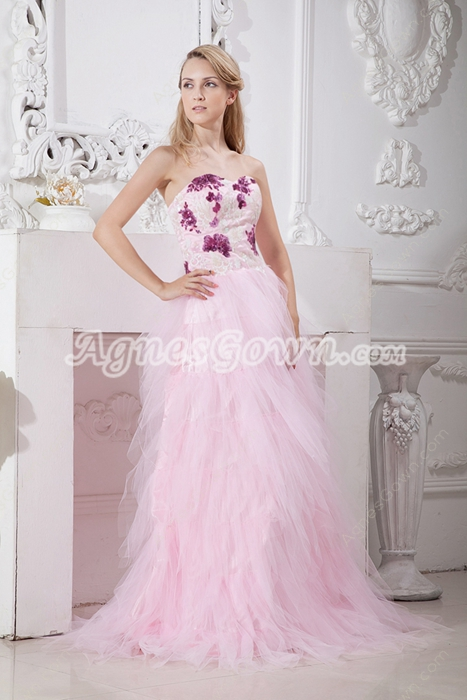 Stunning Pink Tulle Quince Dress With Colorful Sequins