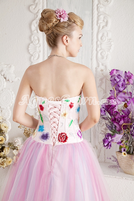 Lovely Multi Colored Rainbow Princess Quince Dress