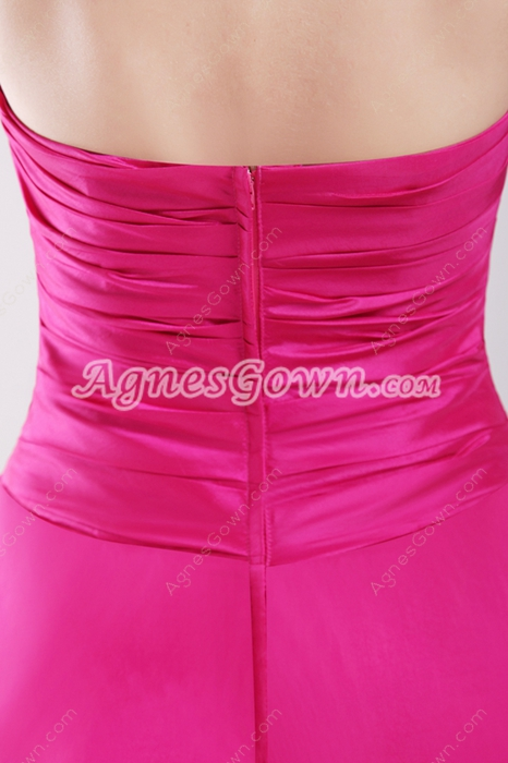 Lovely Fuchsia Taffeta Short Quince Dress
