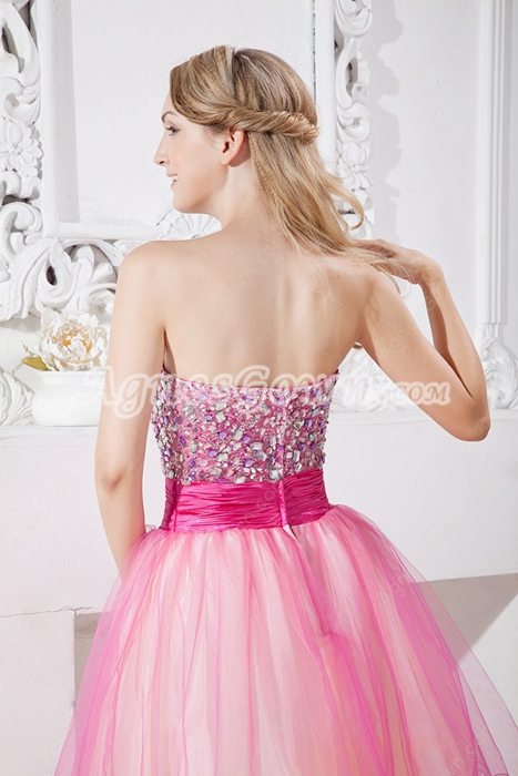 Lovely Colorful Knee Length Sweet XVI Dress With Rhinestones