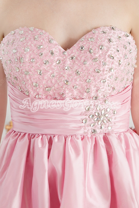Knee Length Pink Junior Bridesmaid Dress With Beads