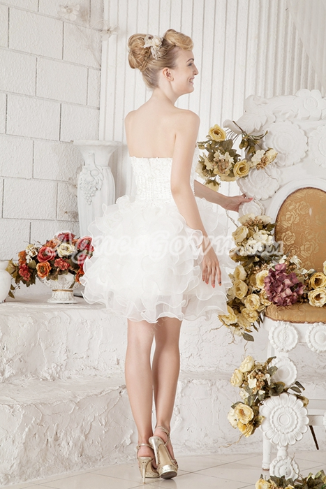 Tutu Mini Length Organza Sweet XVI Dress With Beads