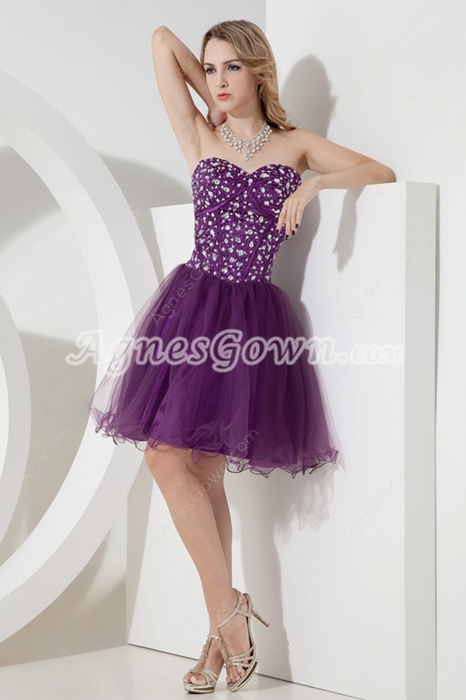 Sassy Mini Length Purple Sweet Sixteen Dress With Beads
