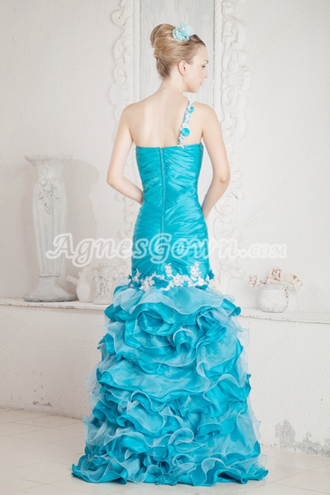 Top Quality One Straps Mermaid Blue Sweet Sixteen Dress