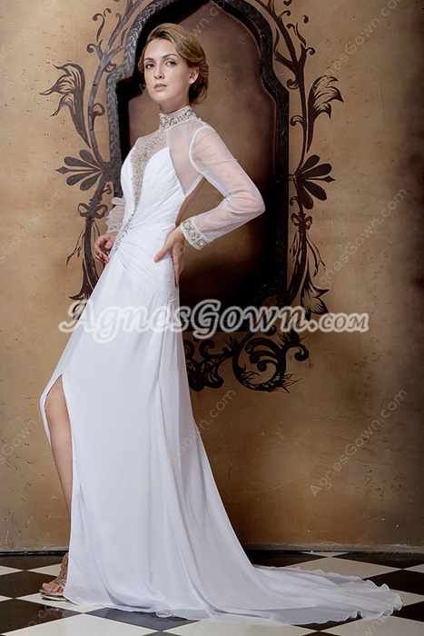 Backless Long Sleeves High Neckline Summer Wedding Dress