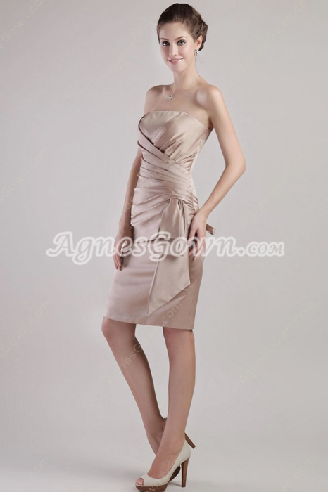 Classical Champange Satin Wedding Guest Dresses With Ruched