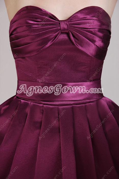 Mini Length Grape Satin Wedding Guest Dress