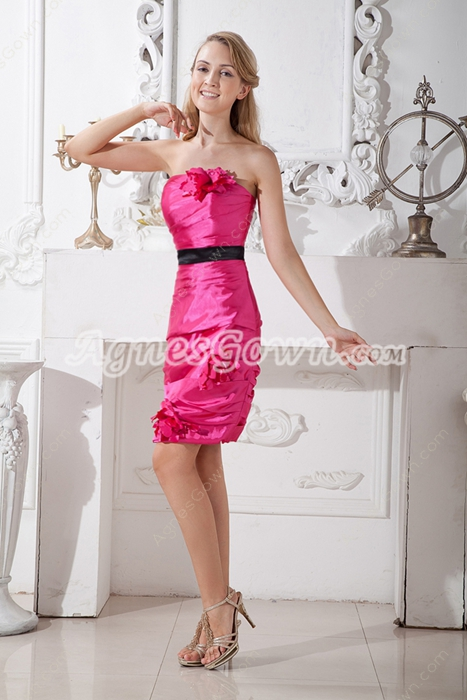 Mini Length Hot Pink Wedding Guest Dress With Black Sash