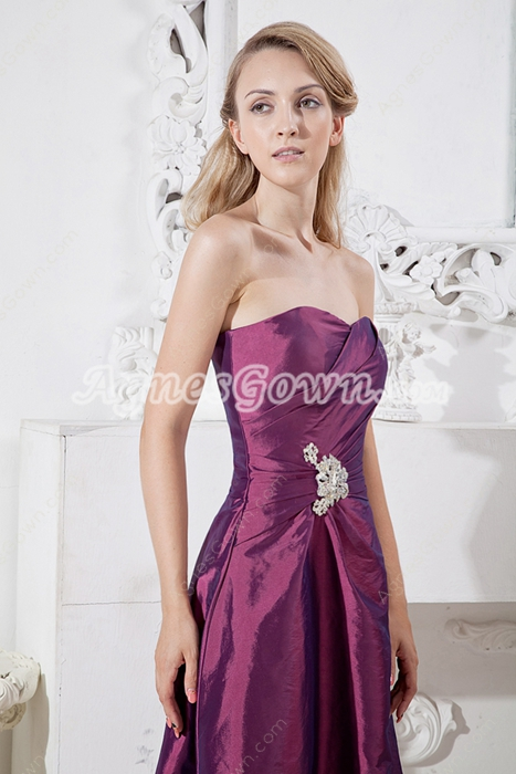 Knee Length Grape Colored Junior Prom Dress