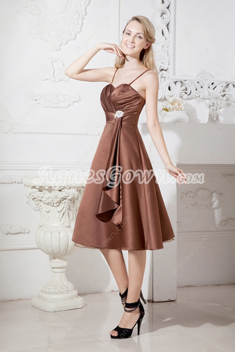 Tea Length Brown Satin Wedding Guest Dress