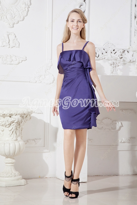 Mini Length Eggplant Wedding Guest Dress With Ruffles