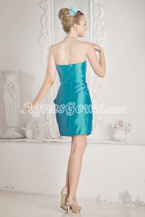 Mini Length Blue Taffeta Wedding Guest Dress