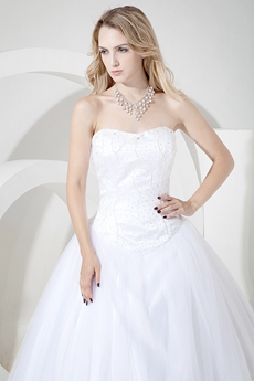 Beaded Strapless Ball Gown Wedding Dress With Dropped Waist