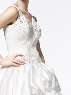 Classy V-Neckline Ball Gown Taffeta Wedding Dress