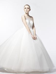 Bateau Neckline Ball Gown Wedding Dress With Beads