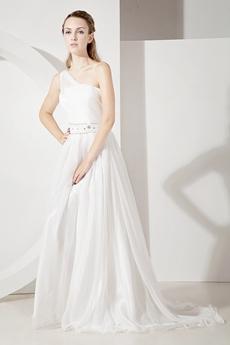 Glamorous One Shoulder Casual Beach Wedding Dresses