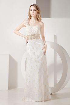 Romantic A-line One Shoulder Lace Wedding Dress
