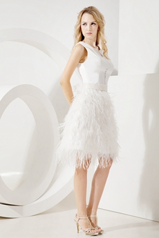 Romantic Little White Dress With Feather