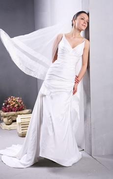 Grecian V-Neckline Simple Wedding Gown With Buttons