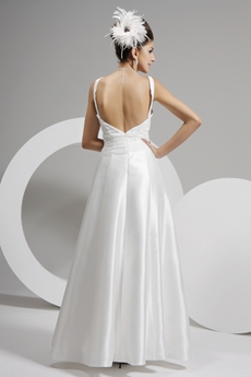 Backless Summer Beach Wedding Dress V-neckline