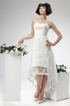 Casual Halter High Low Beach Lace Wedding Dress