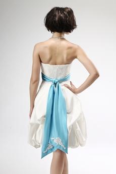 Knee Length White Beach Wedding Dress With Blue Sash