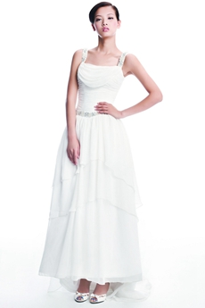 Casual Straps White Chiffon Summer Wedding Dress