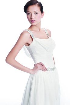 Casual Straps White Chiffon Summer Wedding Dress