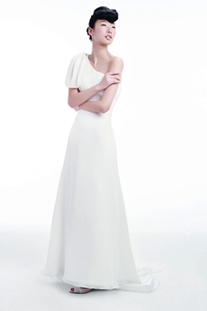 One Shoulder Short Sleeves Summer Beach Wedding Gown
