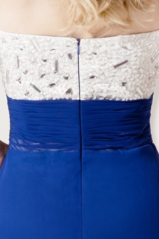 Tasteful White And Royal Blue Evening Dresses With Beaded Bodice