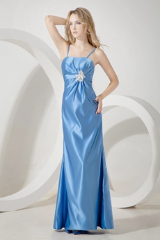 Blue Spaghetti Straps Unique Prom Dress