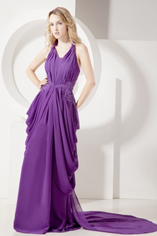 Elegant Purple Halter Chiffon Celebrity Dresses