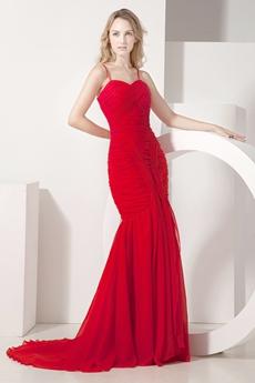 Impressive Spaghetti Straps Red Fishtail Celebrity Dresses