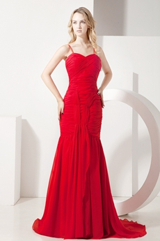 Impressive Spaghetti Straps Red Fishtail Celebrity Dresses