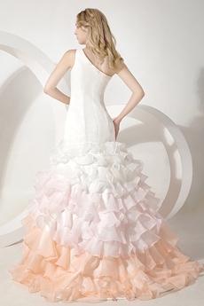 Asymmetrical Shoulder Multi-Colored Organza Wedding Dress