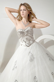 Luxury Silver And White Sparkled Wedding Dress With Butterfly