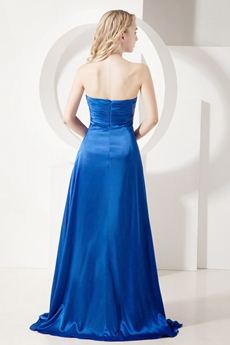 Pretty Royal Blue Sweetheart Prom Dresses with Slit